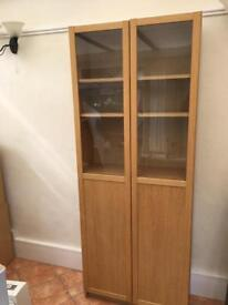 Oak effect display cabinet