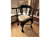 Antique Reproduction Chippendale Mahogany Corner Chair - Excellent Condition!