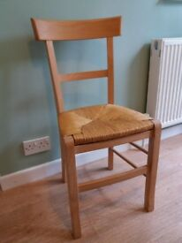 5 Habitat beech wood dining chairs with rush seats
