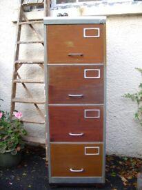 Industrial storage metal steel modern chest of drawers rust patina re-purposed filing cabinet.