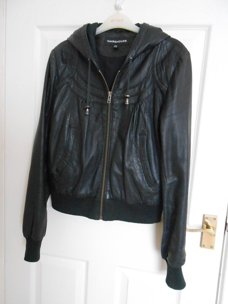 Black Leather jacket with hoodin Coventry, West MidlandsGumtree - A very good quality ladies black real leather jacket with hood in great condition, size 12 . Nice stitching features . Would pay more for synthetic