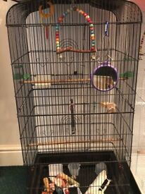 BIRD CAGE large, budgies canary finch small parrot, with drinkers etc