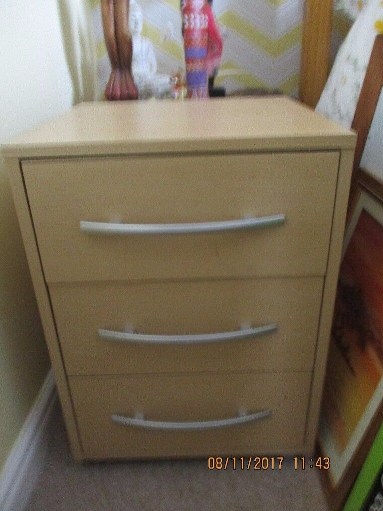 Single wardrobe and bedside table