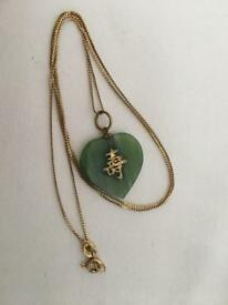 18ct Gold Necklace With Jade Heart Chinese Pendant