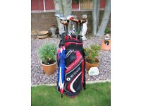 full set wilson iron, motocaddy bag and brolly, tornado trolly,size 9 high-tech leather golf shoes