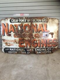 Vintage enamel sign national gas and oil engines