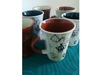 6 stylish mugs, with vintage look