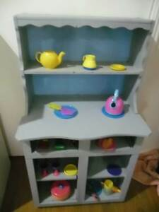 Kids Cute Mini Play Timber Buffet Hutch with Shelves Blue & Grey North Lakes Pine Rivers Area Preview