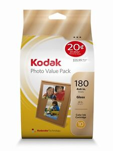 GENUINE Kodak Colour Ink 10C +180 sheets Photo Paper 4x6 4 x 6 Gloss Value pack