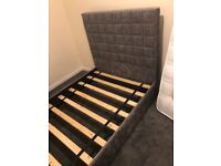 Small Double Chenille fabric Bed-frame