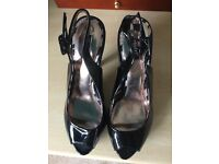 Size 5 Black Peep Toe High Heeled Brand New Shoe