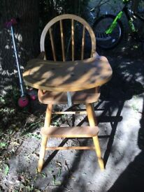 Old fashioned wooden high chair