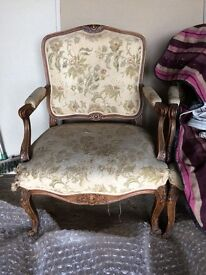 2 Louis XV armchairs in need of restoration