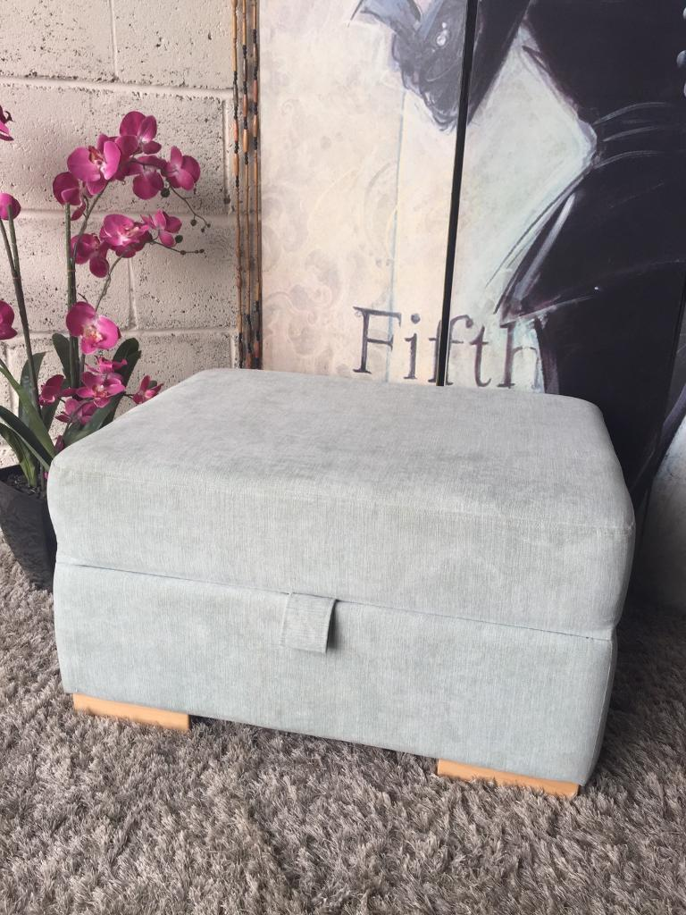 New Furniture Village Storage Footstool In Duck Egg Colour Fabric