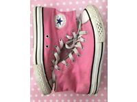 GIRLS PINK CONVERSE HIGH TOPS SIZE 2