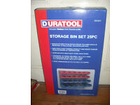 Duratool storage bin set wall mount boxes trays 25 piece box