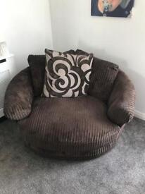 chocolate brown cord corner sofa and cuddle chair