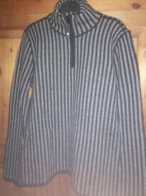 Men's stripped black & gery jumper