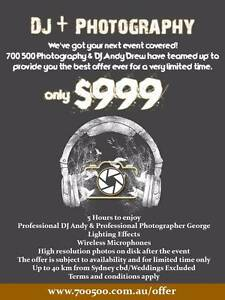 Photography & DJ Package by Dj Andy Drew & 700 500 Photography Sydney City Inner Sydney Preview