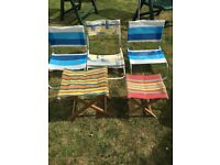3 vintage 50's/60's children's deckchairs camping chairs