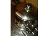 Three Tier Steamer Pans. Stainless Steel Set.