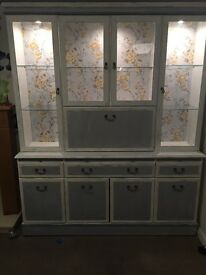 Antique white and grey shabby chic glass display cabinet with shelves and drawers