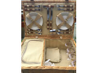 Perfect for summer picnics - 4 person picnic hamper with plates, cutlery, napkins & wine glasses!