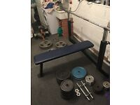 Olympic bench press, Olympic weights, barbells, Dumb Bells