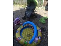 Free Buggy, Bicycle and small swimming pool for children