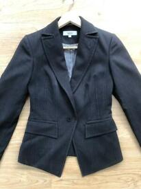 Next Jacket Size 6 Formal Smart Grey Stripe (plus Trousers if wanted)