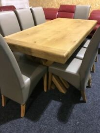 New solid OAK table(2 metre)and 8 chairs