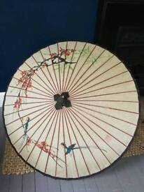 Beautiful Chinese antique umbrella with floral motives.