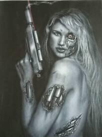 Terminator woman painting