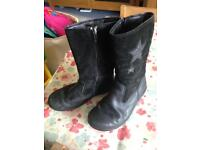 Clarks black leather winter boots