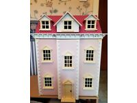 Victorian Style Dolls House 5 Rooms on 3 levels with lot of Furniture/Accesories
