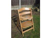 Hauck Alpha Adjustable Wooden High Chair natural colour