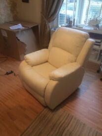 cream leather effect electric recliner totally as new never used