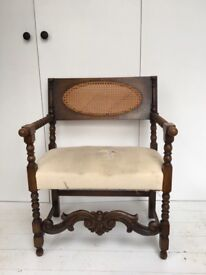 Antique hand carved wooden chair - needs upholstering.
