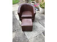 Tub chair and footstool