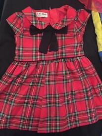 9-12 tartan dress, Xmas dress and pjs
