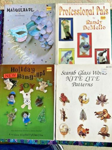 4 Stained Glass Books: Nite Lite, Holiday, Masquerade, Professional Pals Pattern