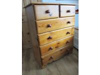 Large solid pine chest of drawers
