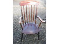 ANTIQUE ORNATE HIGH BACK RARE SPINDLE 'SUFFOLK' CHAIR. SHAPED SEAT PAD. VIEWING/DELIVERY AVAILABLE