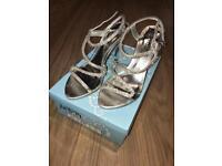Stunning silver diamanté 2.5 inch heels