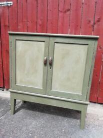 Vintage cabinet painted Annie Sloan 'Olive'
