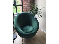 Velvet green arm chair/ tub chair