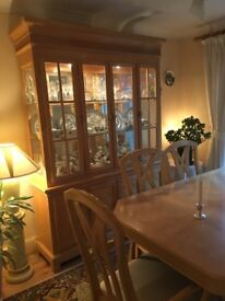 Large dining table and six chairs (2 carvers) with matching dresser in beech. £250