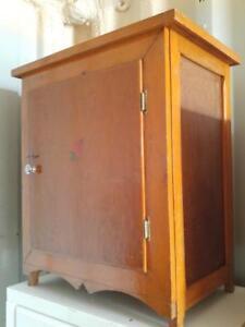 "Oakville 24""X16""X30"" ANTIQUE CUPBOARD Retro Solid Wood Vintage Beauty OOAK Rosebud Brown Cabinet Pantry Storage Retro"