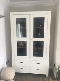 Tall display cabinet with two large drawers- hand painted
