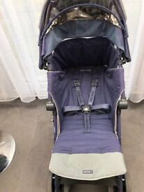 (3) Maclaren Techno XT Pushchair with raincover Crown Blue, blue/frame